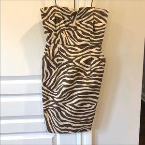 Kate Spade Animal Print Brown Strapless Dress